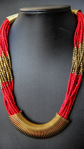 Tribal Red and Gold Beaded Necklace