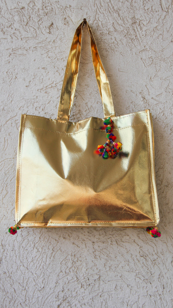 Quirky Golden Shoulder bag with Multicolored Pom-poms