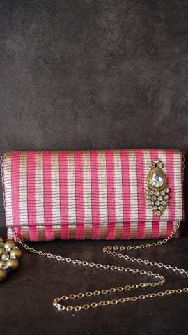 Festive Crystal Pink and Golden Envelope Clutch Party Bag with Sling strap