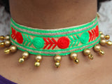Choker Necklace in Off-white Green and Red with Golden Beads and Ghungroos