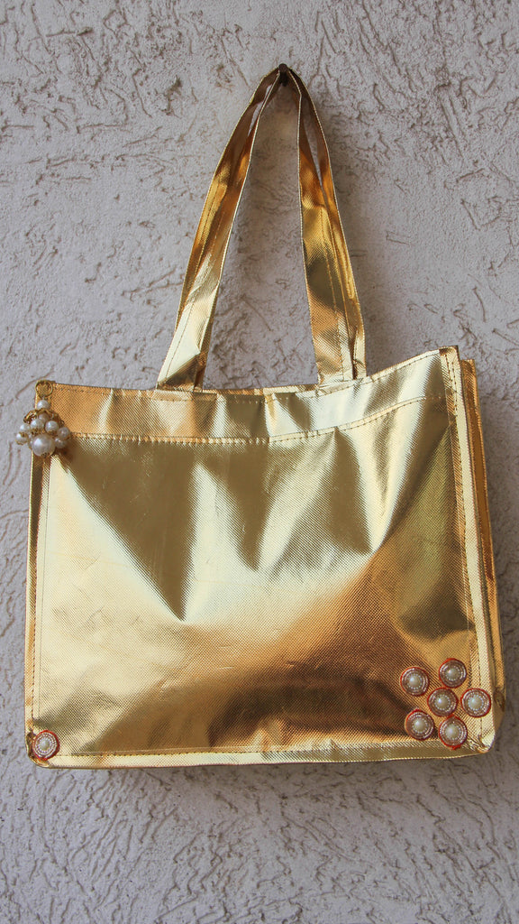 Quirky Golden Shoulder bag with Golden Jhumki with  Zardozi and Pearls