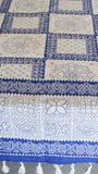 Jodhpuri Dot Motifs Handblock Printed Off-White and Blue Cotton Table Cover