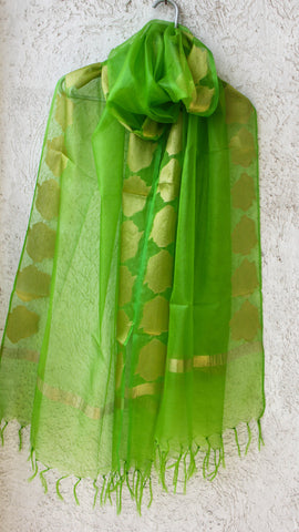 Benarasi Kora Lime Green Dupatta with Zari Rose Border