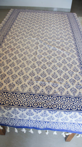 Jodhpuri Floral Handblock Printed Off-White and Blue Cotton Table Cover