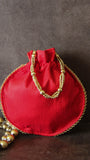 Red and Gold Silk Drawstring(Potli) Party Bag