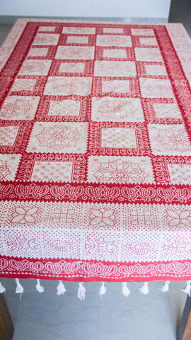 Jodhpuri Dot Motifs Handblock Printed Off-White and Maroon Cotton Table Cover