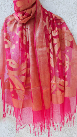 Benarasi Kora Magenta Dupatta with Zari Jaal and Border