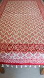 Jodhpuri Floral Handblock Printed Off-White and Maroon Cotton Table Cover