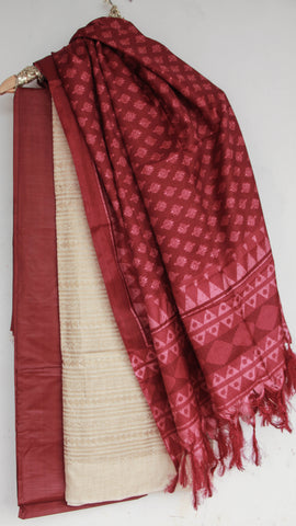 Bhagalpuri Block Printed Off-White and Terracota brown Suit Material with Dupatta