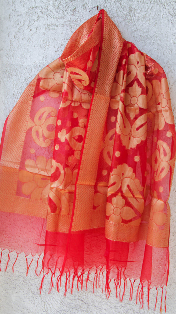Benarasi Kora Red Dupatta with Zari Jaal and Border