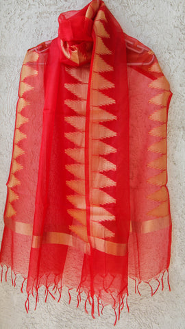 Benarasi Kora Red Dupatta with Temple Border in Zari