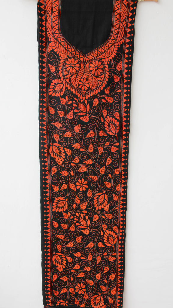 Kantha Hand Embroidered Black and Orange Cotton Kurta