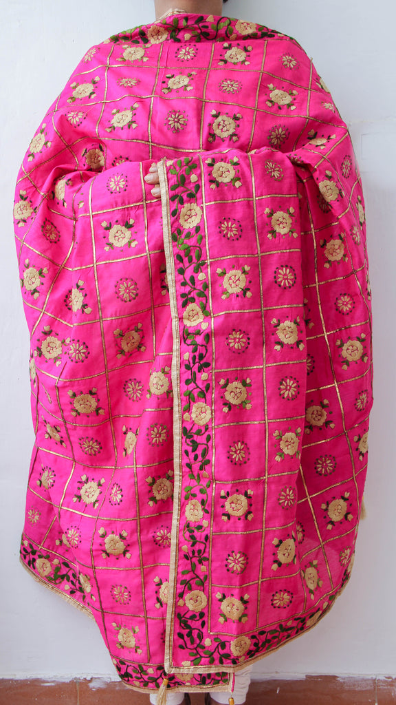 Chanderi Gota Check Magenta and Beige Hand Embroidered Phulkari Dupatta