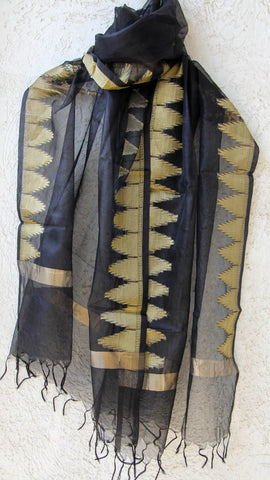 Benarasi Kora Black Dupatta with Zari Temple Border