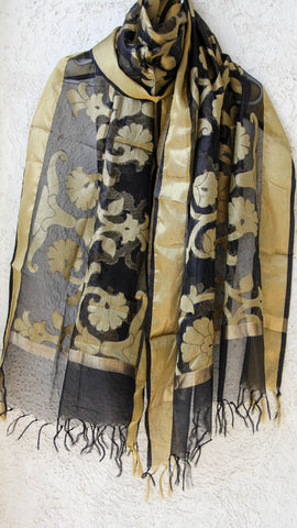 Benarasi Kora Black Dupatta with Zari Jaal and Border