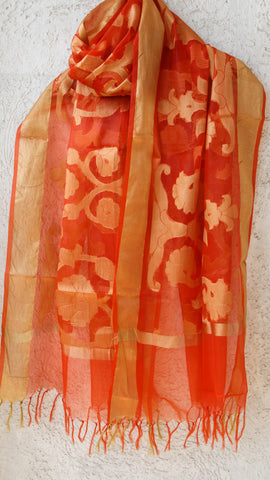 Benarasi Kora Orange Dupatta with Zari Jaal and Border