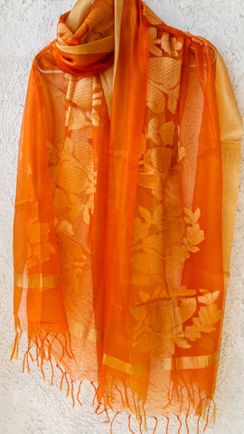 Benarasi Kora Orange Dupatta with Intricate Bel and Border