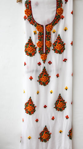 Kashmiri Hand Embroidered White Viscose-Georgette Long Kurta