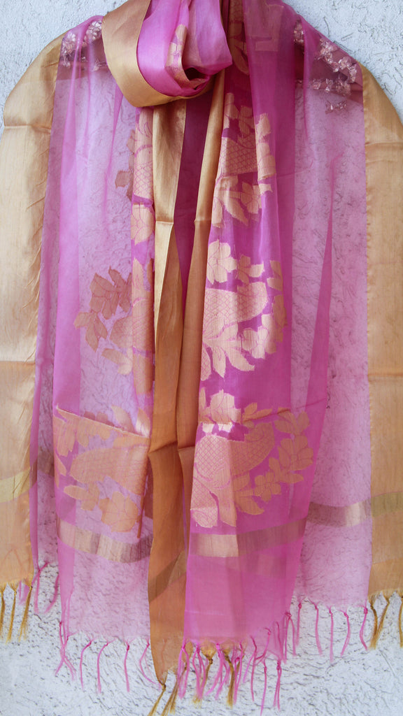 Benarasi Kora Fuschia Pink Dupatta with Intricate Bel and Border
