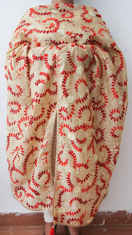 Chanderi Beige and Red Hand Embroidered Phulkari Dupatta