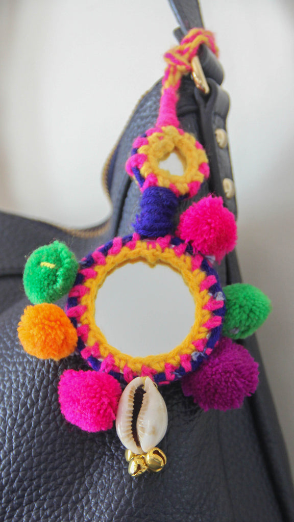 Gypsy Pom-Pom with Mirror Bag Charm