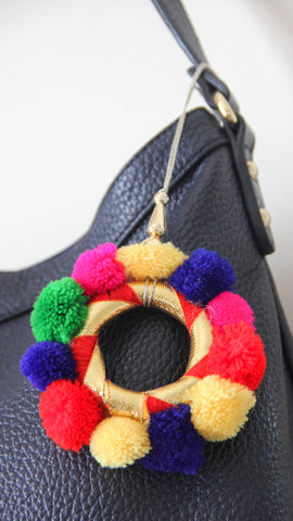 Boho Chic Pom-Pom Ring Bag Charm