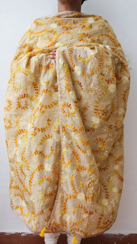 Chanderi Beige and Yellow Hand Embroidered Phulkari Dupatta