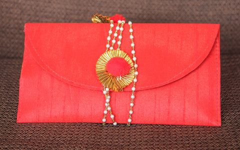 Rajasthani Gota Tie-around Red Clutch Purse cum Wallet