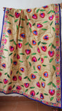Chanderi Block Printed Beige and Blue Hand Embroidered Phulkari Dupatta