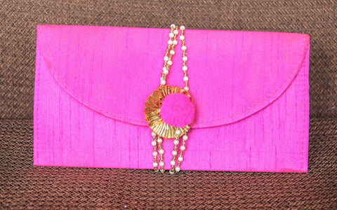 Rajasthani Gota Tie-around Magenta Clutch Purse cum Wallet