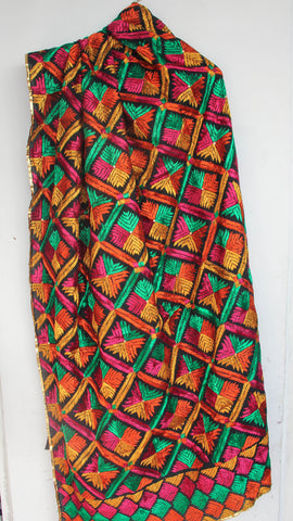 Bagh Black and Multi-colored Cotton Hand Embroidered Phulkari Dupatta