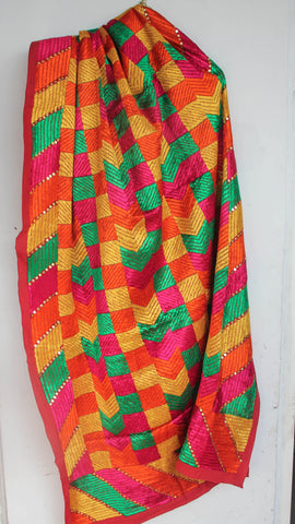 Bagh Red with Multi colored threads Handspun cotton Embroidered Phulkari Dupatta