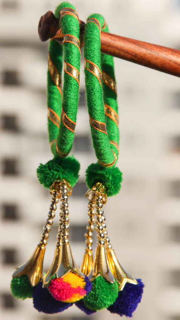 Gotawork Green Bangle Set(of 2) with hanging Charms
