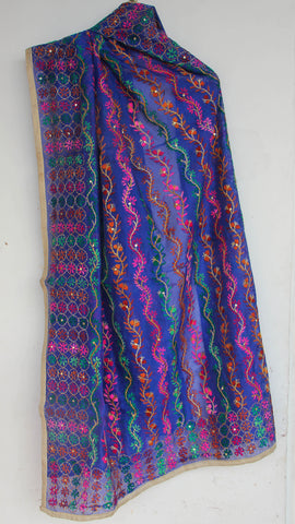 Chanderi ELectric Blue and Pink Hand Embroidered Phulkari Dupatta