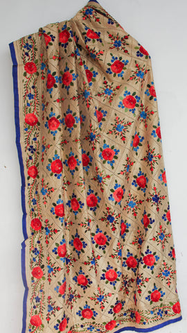 Chanderi Beige with Blue and Red Hand Embroidered Phulkari Dupatta