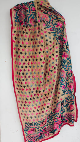 Chanderi Beige with Deep Magenta and Teal Hand Embroidered Phulkari Dupatta