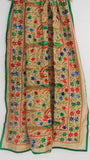Chanderi Madhubani Block Printed Beige and Multi-colored Hand Embroidered Phulkari Dupatta