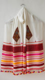 Pure Organic Cotton Offwhite and Maroon Kutch Embroidery Stole