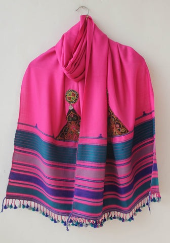 Pure Organic Cotton Magenta and Turquoise Kutch Embroidery Stole