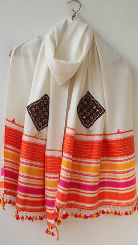 Pure Organic Cotton Offwhite and Orange Kutch Embroidery Stole