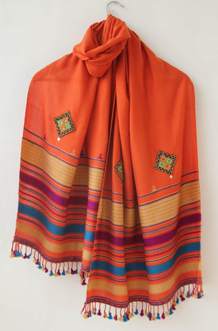 Pure Organic Cotton Orange and Yellow Kutch Embroidery Stole