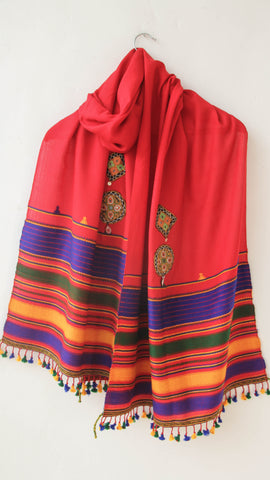 Pure Organic Cotton Red and Blue Kutch Embroidery Stole