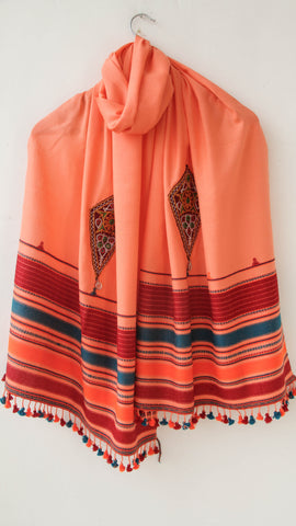 Pure Organic Cotton Peach and Maroon Kutch Embroidery Stole