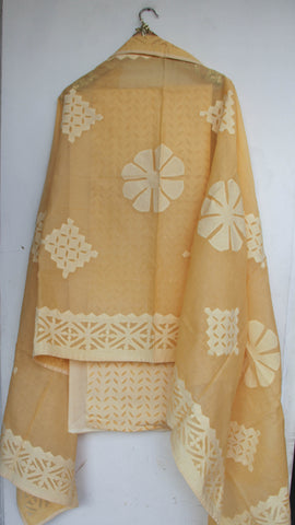 Applique Latte Yellow Cotton and Organdy Salwar Kurta and Dupatta Suit