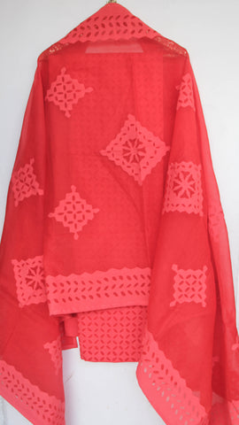 Applique Red Cotton and Organdy Salwar Kurta and Dupatta Suit