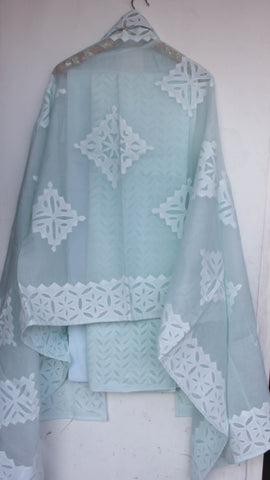 Applique Powder Blue Cotton and Organdy Salwar Kurta and Dupatta Suit