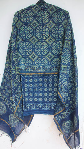 Ajrakh Bottle Indigo Modal Silk Kurta with Chanderi Dupatta