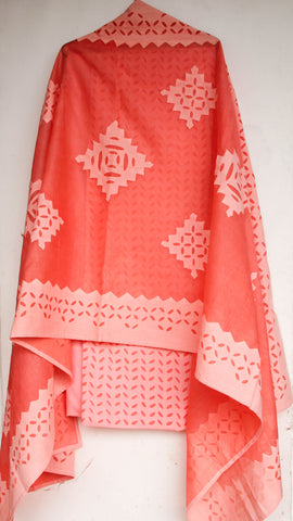 Applique Peach Cotton and Organdy Salwar Kurta and Dupatta Suit