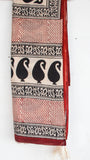 Jodhpuri Block-Printed Beige and Black Soft Cotton Saree(with Blouse)