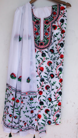 Hand Embroidered White and Multi-Colored Pure Cotton Suit